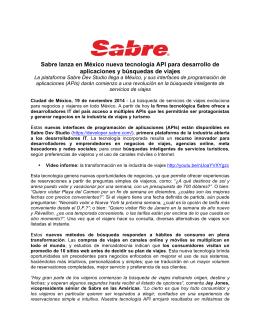 Sabre lanza en México nueva tecnología API para desarrollo de