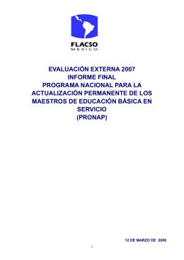 EVALUACIÓN EXTERNA 2007 INFORME FINAL PROGRAMA