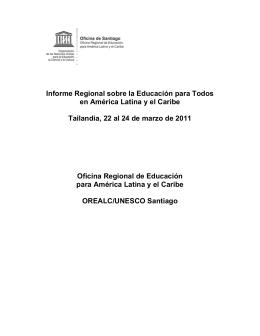Informe Regional sobre la Educación para Todos en