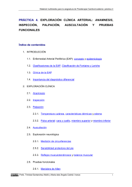 PRÁCTICA 4. EXPLORACIÓN CLÍNICA ARTERIAL