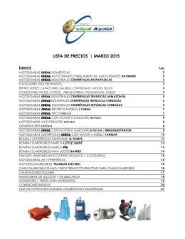 LISTA DE PRECIOS | MARZO 2015