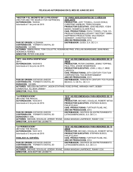 PELICULAS AUTORIZADAS EN EL MES DE JUNIO DE 2015