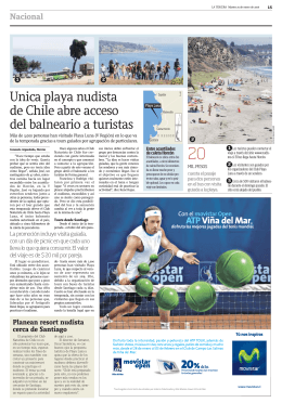 Unica playa nudista de Chile abre acceso del