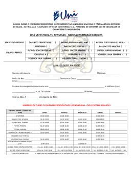 Formato de inscripción a actividades deportivas licenciatura 2014