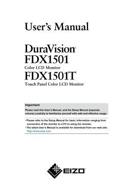 DuraVision FDX1501/FDX1501T User`s Manual