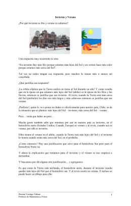 Invierno y Verano - Ejercicios de física y matemática