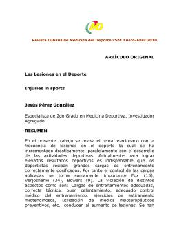 ARTÍCULO ORIGINAL Las Lesiones en el Deporte Injuries in sports