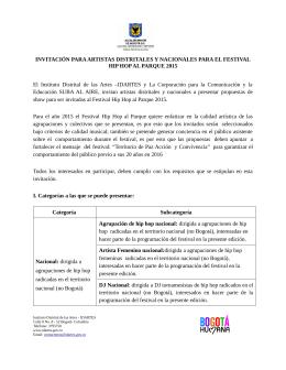 INVITACIÓN PARA ARTISTAS DISTRITALES Y NACIONALES