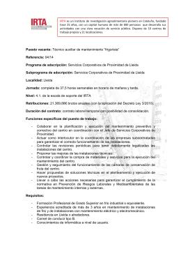 """Puesto vacante: Técnico auxiliar de mantenimiento """"frigorista"""