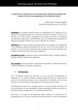 La ejecución de Sentencia en el procedimiento colectivo de despido