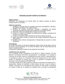 REGIONALIZACIÓN TURÍSTICA DE MÉXICO