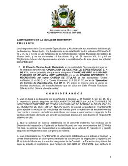AYUNTAMIENTO DE LA CIUDAD DE MONTERREY PRESENT E