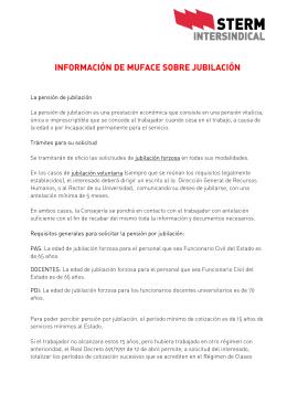 INFORMACIÓN DE MUFACE SOBRE JUBILACIÓN