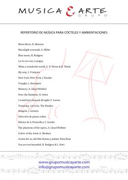 REPERTORIO DE MÚSICA PARA CÓCTELES Y AMBIENTACIONES