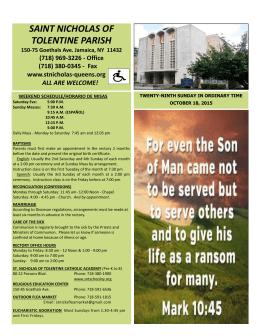 10-18-2015 - St. Nicholas of Tolentine