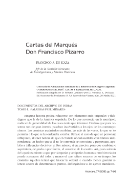 Cartas del Marqués Don Francisco Pizarro