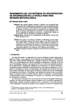 RENDIMIENTO DE LOS SISTEMAS DE RECUPERACiÓN