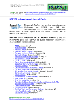 REDVET indexada en el Journal Finder El Journal