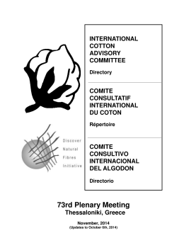 Directory 2014.indd - ICAC. International Cotton Advisory Committee
