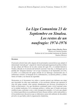 La Liga Comunista 23 de Septiembre en Sinaloa. Los restos de un