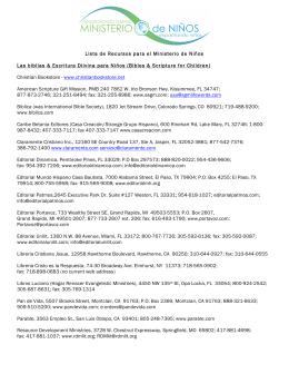 Lista de Recursos para el Ministerio de Niños Las biblias