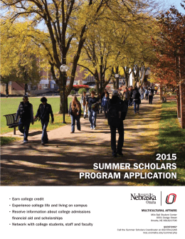 2015 Summer Scholars Application