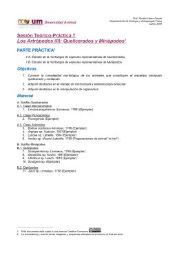 Sesión Teórico-Práctica 7 Los Artrópodos (II): Quelicerados y