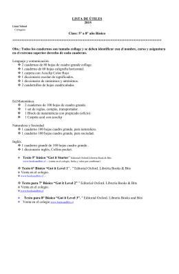 LISTA DE ÚTILES 2015 Class: 5° a 8° año Básico