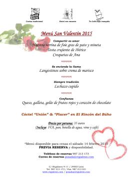 Menú San Valentin 2015