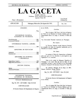 Gaceta - Diario Oficial de Nicaragua