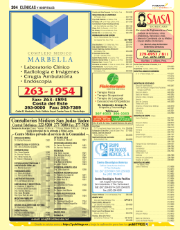 Fax: 263-1894 • Laboratorio Clínico • Radiología e Imágenes