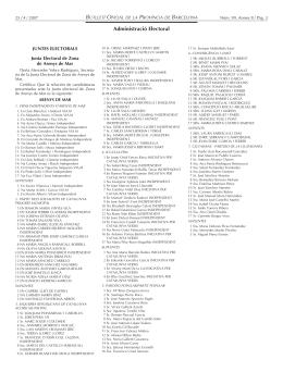 Llistes de les sis candidatures. BOP 25/04/07