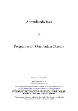 Aprendiendo Java y Programación Orientada a Objetos