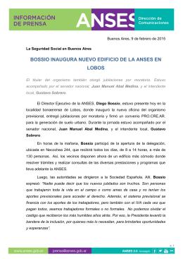 BOSSIO INAUGURA NUEVO EDIFICIO DE LA ANSES EN LOBOS