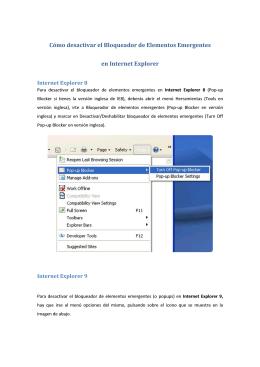 Desactivar Bloqueador de Elementos Emergentes en IE8/IE9