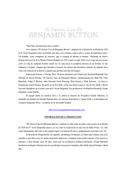 """""""El Curioso Caso de Benjamin Button"""", adaptada de la historia de"""