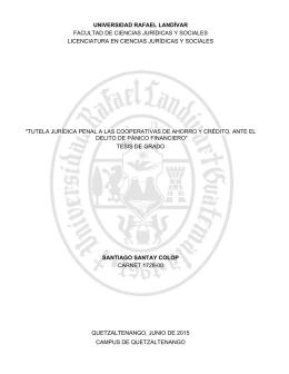 """""""tutela jurídica penal a las cooperativas de ahorro y crédito, ante el"""