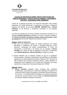 CLAUSULAS ADICIONALES SOBRE CREDITO HIPOTECARIO DEL
