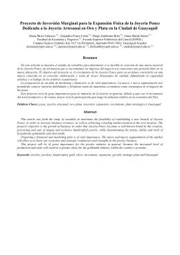 Proyecto de inversión marginal para la expansion física de la joyería