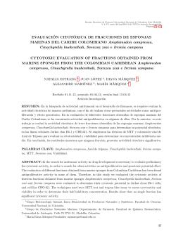 evaluación citotóxica de fracciones de esponjas marinas del caribe
