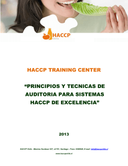 "HACCP TRAINING CENTER ""PRINCIPIOS Y TECNICAS DE"