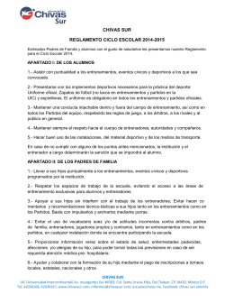 CHIVAS SUR REGLAMENTO CICLO ESCOLAR 2014-2015