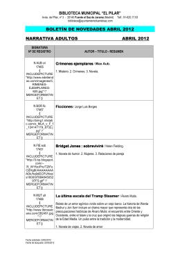 """biblioteca municipal """"el pilar"""" boletín de novedades abril 2012"""