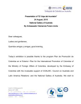 """Presentation of """"El Viaje del Acordeón"""" 24 August, 2015 National"""