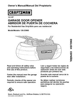 GARAGE DOOR OPENER ABRIDOR DE PUERTA DE COCHERA