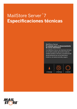 MailStore Server 7 Especificaciones técnicas