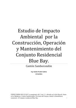 Estudio Impacto Ambiental Conjunto Residencial Blue Bay