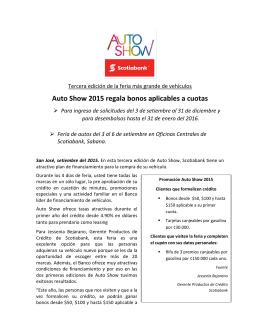 Auto Show 2015 regala bonos aplicables a cuotas