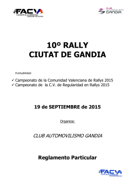 10º RALLY CIUTAT DE GANDIA - Club automovilismo Gandia