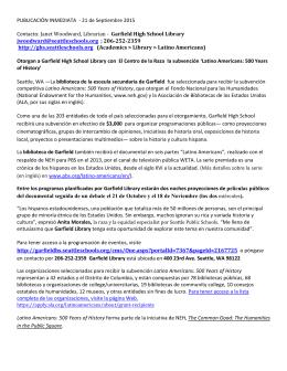 PUBLICACIÓN INMEDIATA - 21 de Septiembre 2015 Contacto